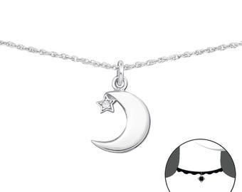 Silver Moon And Star Choker With Cubic Zirconia