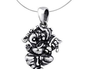 Sterling Silver Ganesha Pendant With Oxidised Finish