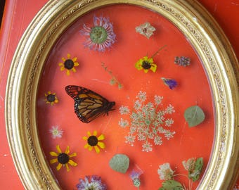Monarch with Flowers wall art