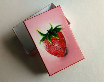 Strawberry Gift Box | Box with Lid | Necklace Box | Realism Art | Food Art | Berries | Bracelet Box | Mini Art | Small Box | Small Gift Box