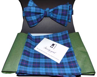 Navy Blue and Pink Self-Tie Plaid Bow Tie and Matching Pocket Square.