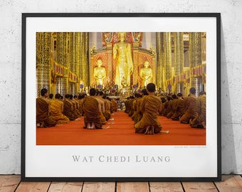 Buddha Temple Poster, Thailand Travel Photography Print, Buddhist Monk Wall Art, Buddhism Home Decor, Wat Chedi Luang Pagoda, Chiang Mai