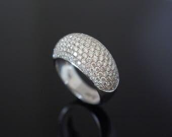 Wide Diamond Ring, Wide Pave Diamond Ring, White Gold Pave Ring, Pave Diamond Gold Ring, Dome Diamond Ring, Dome Gold Ring, Mothers Day Gift
