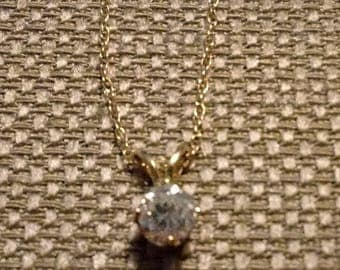 1/3 Ct Genuine Diamond Solitaire Pendant Necklace