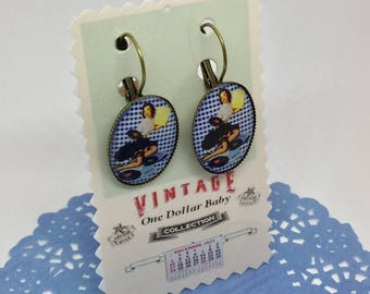 Earrings blue gingham pinup