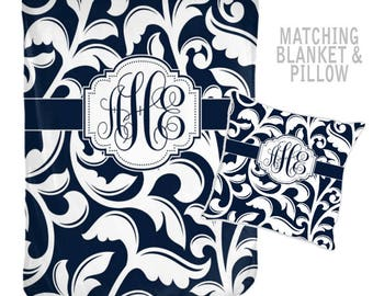Monogram Blanket, Valentine Gift for Sister, Gift for Friend, Personalized Family Name Blanket-Navy Bridal Shower Gift-Blanket Pillow Set