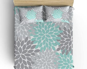 Girl Floral BEDDING Comforter- DUVET COVER, Pillowcase, Aqua Gray Flower Petals- Toddler- Twin- Queen- King- Monogram Bedding Set