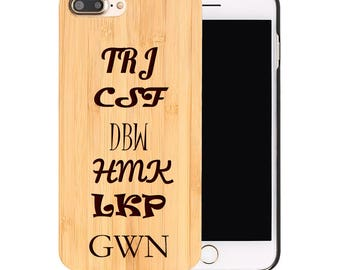 Personalized iPhone 7 8 X 10 Real Wood Case Laser Engraved Initials
