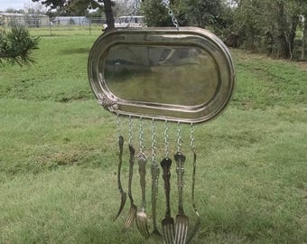 Silver Plated Serving Tray Wind Chime