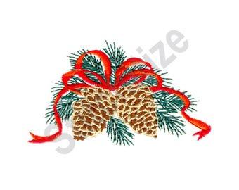 Christmas Pine Cones - Machine Embroidery Design, Pine Cones, Christmas