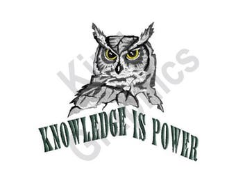 Knowledge Is Power - Machine Embroidery Design, Owl, Knowledge