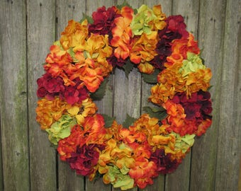Ready to Ship Fall Floral wreath with Gold, burgundy, and Olive Hydrandreas