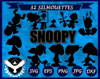 32 Snoopy Silhouette | Snoopy SVG | Snoopy Clipart | Snoopy PNG | Snoopy Vector | Snoopy Print | Peanuts SVG | Circuit | Cut File | Dog