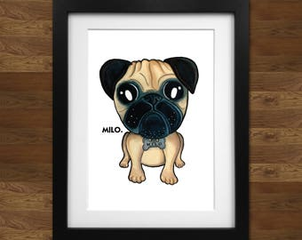 Personalised Pug Caricature Print on 250gsm A4 high quality photo paper