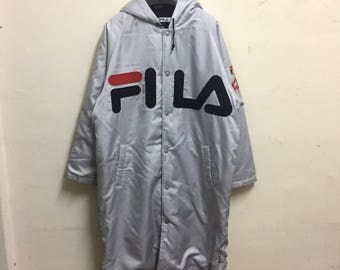 Rare!vintage 90s FILA SPORT jacket coats long tuck away/big logo spellout/large size