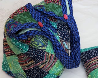 Blue and Green Diamond Patchwork Tote Bag