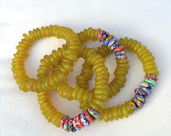 Recycled yellow glass and marbled disk beads (11mm)
