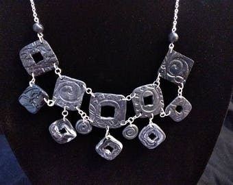Black&white pewter squares necklace