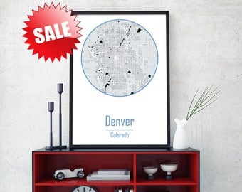 DENVER CITY, Denver map, Denver Colorado, Office art, Canvas print, Prints giclee, Large canvas wall, Denver print, Denver poster, City art