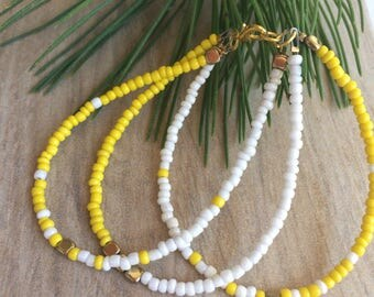 Bright Yellow, Pearl and Gold Seed Bead Dainty Bracelet