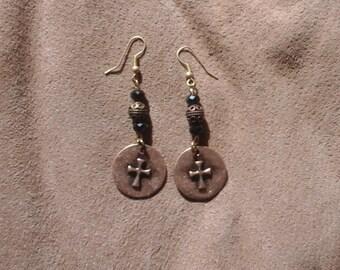 Hope, Cross, Rustic Looking, Dangle Earrings