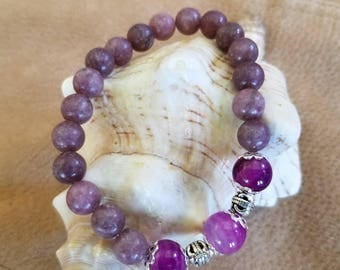 Amethyst and Rhodonite Gemstones