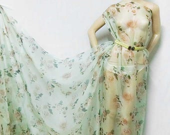 Discounted Stunning Roses Dull Green Digital Printed Pure Silk Organza Fabric Sheer Material 135cm wide By the Yard dza-2025