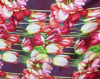 Discounted 2Way Stretch Digital Tulip print silk satin charmeuse fabric material 135cm wide By the Yard DLD 6602