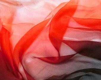 Pure Mulberry Silk ombre red white digital print Printed pure silk chiffon sheer fabric for dresses dpc 42134