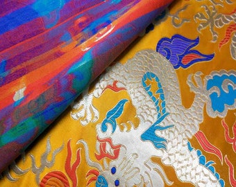 Discount Colorful Big Dragon on Empare Gold Chinese Brocade Silk Fabric Motif 28 inch/72cm W, The Yard or Metres CBS-823