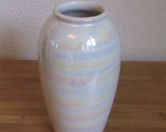 White Scheurich West Germany vase with oil slick pattern