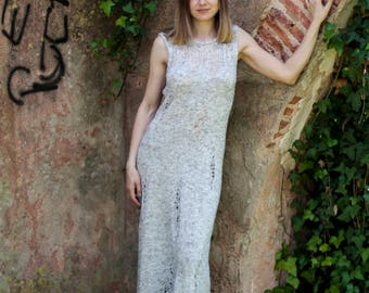 Knit long dress with open back