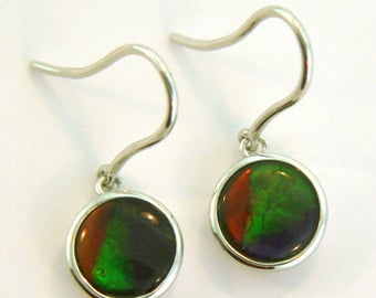 Pair of Natural Three Color Round Shaped Canadian AAA Ammolite earrings set in Sterling Silver.
