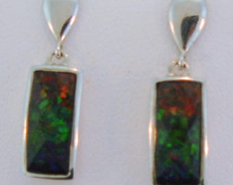 Pair of Three Color Canadian AAA Ammolite earrings set on Sterling Silver.