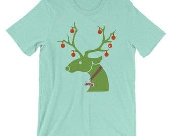 Men's Christmas Holiday Swing Dance Shirt: Reindeer Dancer Mint Green, 15 color choices | Short-Sleeve Men's T-Shirt Swing Swag Dancer Gifts
