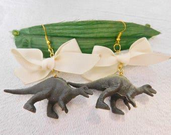 Dinosaur earrings, necklace or keyring