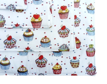 Cup Cake Print Cotton Table Place Mats - Set of 4