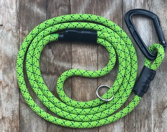 Climbing rope dog leash / Carabiner dog leash / Rope dog leash with climbing carabiner / Green dog leash