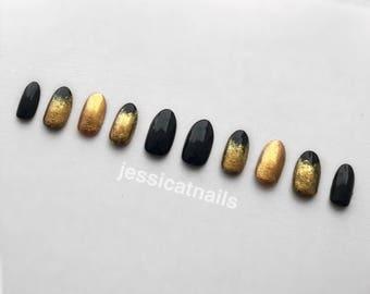 Black & Gold Glitter Stiletto False Nails