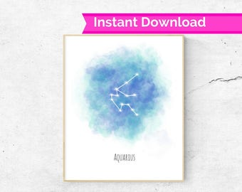 Aquarius Horoscope wall art, Aquarius star sign constellation print, Horoscope print, Aquarius gift idea, Astrology wall art, Aquarius art