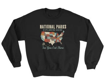 Vintage Map of US National ParksSweatshirt