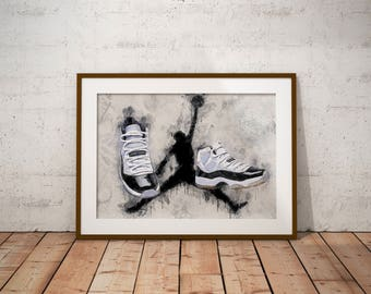 Jordan 11 - Jordan XI- Concords - Sneakers - Poster - Art - Wall Decor - J's - Michael Jordan -  Modern water