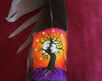 The tree of destiny painted on a goose feather