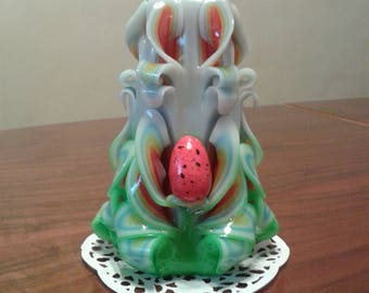 Easter,Easter Carved Candle with Egg