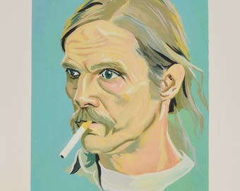 RUST COHLE True Detective Print, Matthew Mcconaughey, Celebrity Portrait Painting, TV Show Art, Giclee Print, Gouache Painting, Tv Inspired