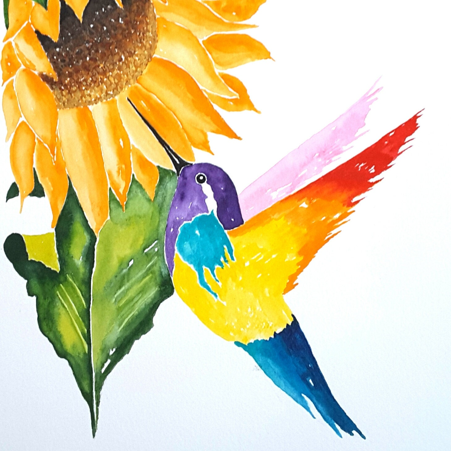 Original Watercolor Painting Bird Art Colorful Bird and