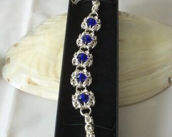 Blue crystal chainmaille BVyzantine 5 section Romanov Bracelet