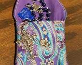 Rosary / Coin Fabric Purse with Pearl Snap Closure - Purple Paisley Like Design with Solid Purple Interior