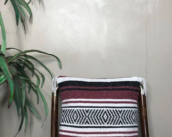 Burgundy Mexican Blanket Throw Pilloe Case