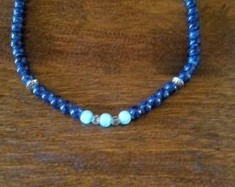 Beaded Lapis chocker necklace